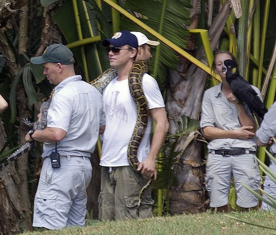 Leonardo DiCaprio carried a large snake.