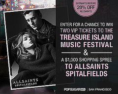 Win Two VIP Tickets to the Treasure Island Music Festival and a $1,000 Shopping Spree to ALLSAINTS SPITALFIELDS