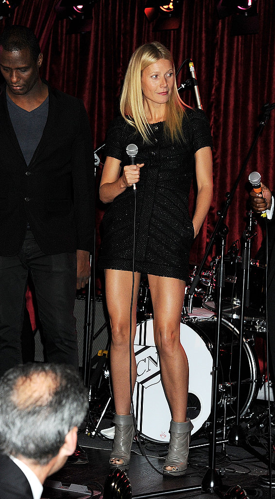 Gwyneth Paltrow worked her moves onstage in a black miniskirt.