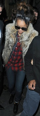 Rihanna in Plaid Shirt and Fur Vest