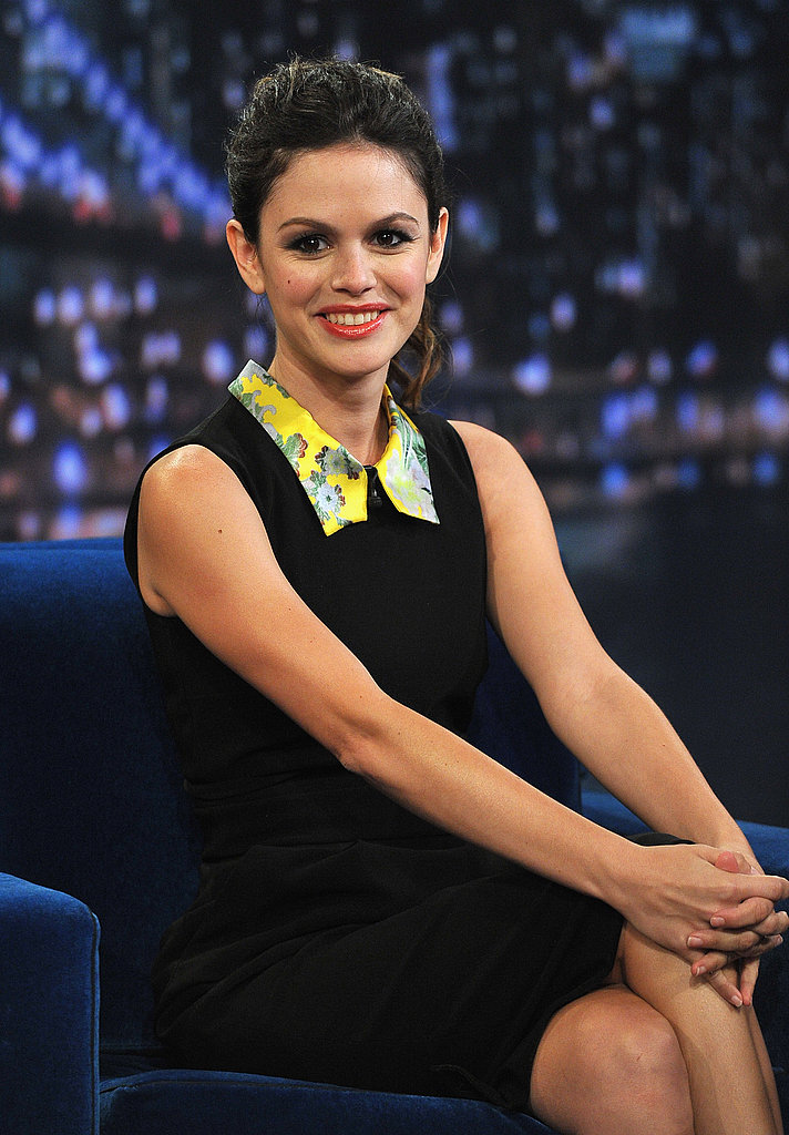 Rachel Bilson was all smiles sitting next to Jimmy Fallon.