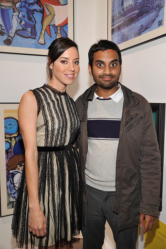 Parks and Recreation costars Aubrey Plaza and Aziz Ansari.
