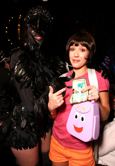 Dora the Explorer Jessica Alba chose a family-friendly costume that would be perfect for taking kids trick-or-treating.