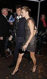 Kate Moss showed lots of leg in a sheath dress with Jamie Hince.