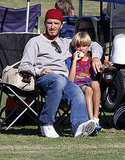 David Beckham and son Romeo Beckham in LA.