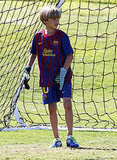 Romeo Beckham plays goalie.