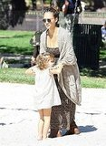 Jessica Alba with Honor Warren at a park.