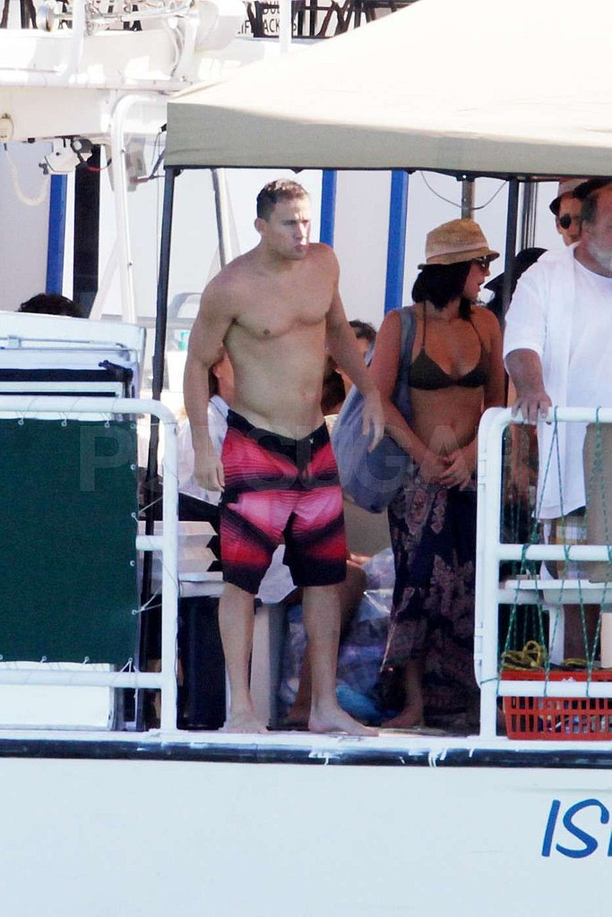 Channing Tatum wore hot pink swim shorts.
