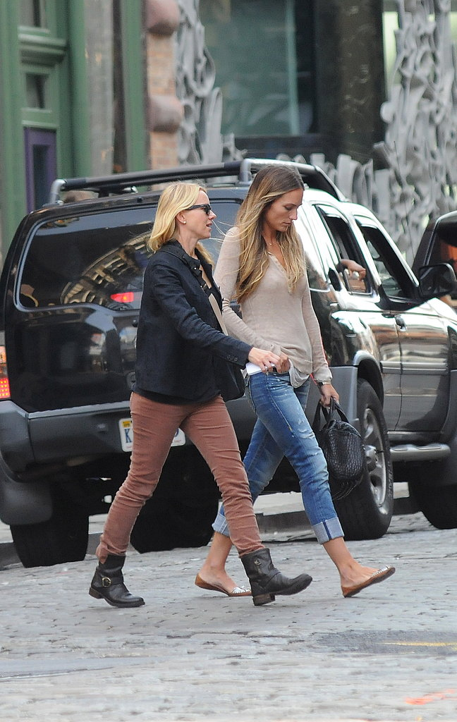 Naomi Watts with a friend in NYC.