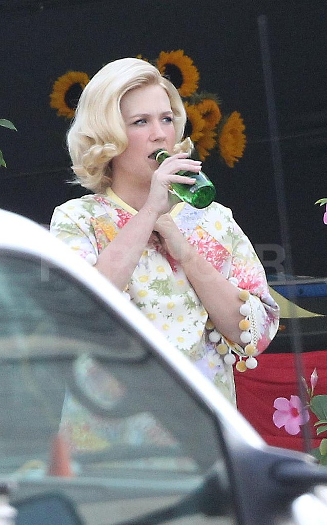 January Jones stayed hydrated between filming scenes.
