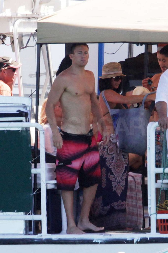 Channing Tatum wore low-slung swim trunks.
