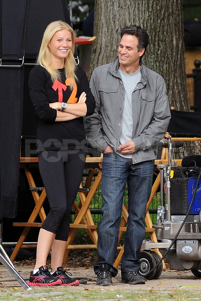 Gwyneth Paltrow and Mark Ruffalo laughed on the set of Thanks For Sharing.