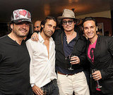 Johnny Depp enjoyed a glass of wine with friends Domingo Zapata, Jordi Molla, and Antonio Del Prete.