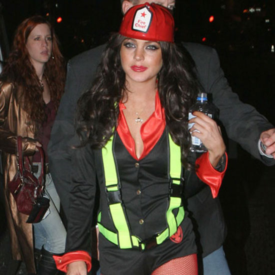 In 2005, Lindsay Lohan chose a skimpy firefighter's uniform for her costume.