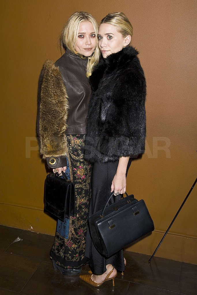 Mary-Kate Olsen and Ashley Olsen coordinated their fur coats.