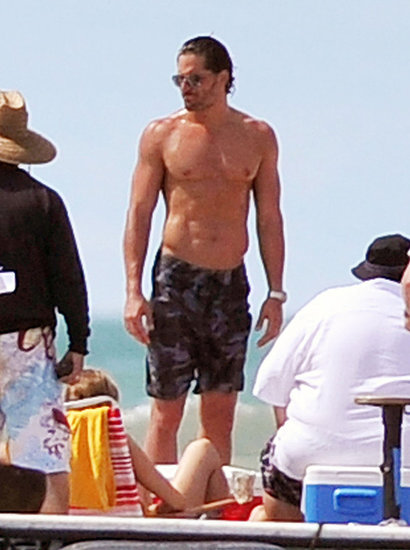 Joe Manganiello oiled up for his shirtless scene.