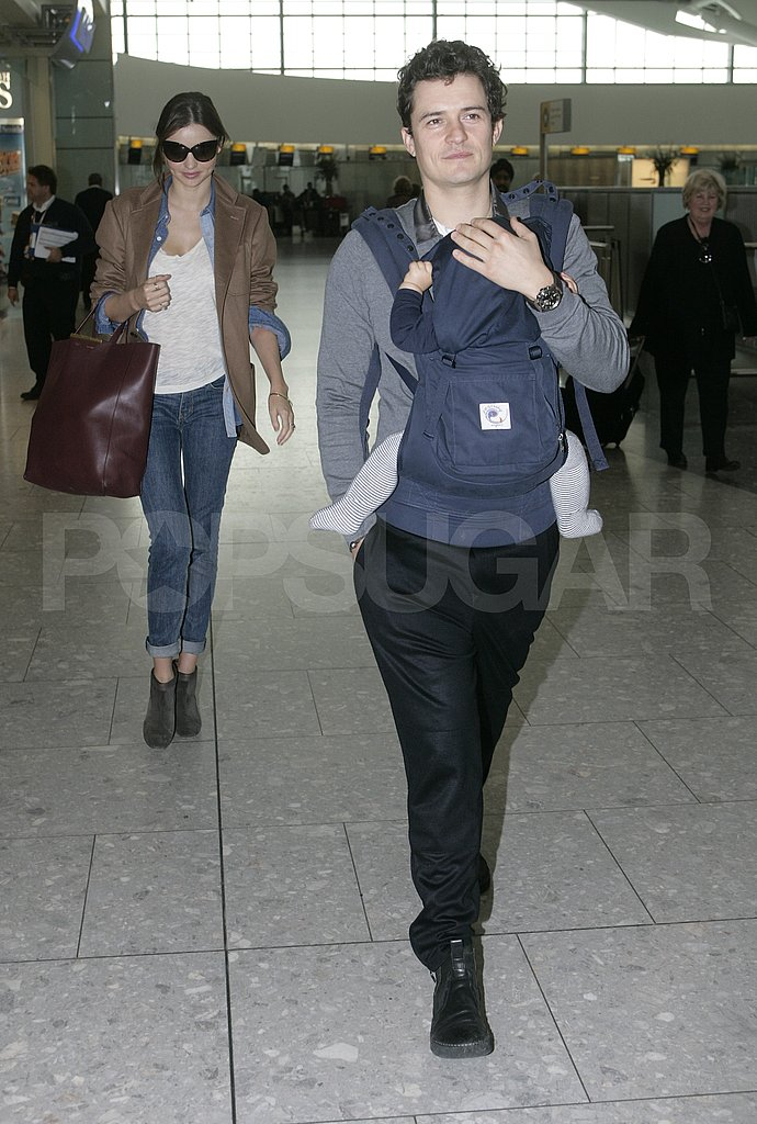 Miranda Kerr followed Flynn Bloom and Orlando Bloom at Heathrow.