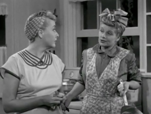 "Ethel: ""There's lots of things you're good at."" Lucy: ""Like what?"" Ethel: ""Well, you're awfully good at . . . uh . . . You've always been great at . . ."" Lucy: ""Those are the same ones Ricky came up with."""