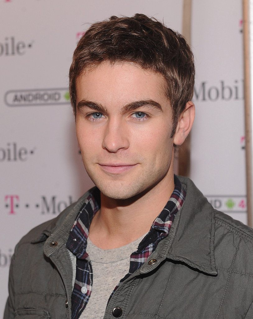Chace layered a light jacket over his plaid shirt.