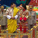 King Jigme Khesar Namgyel Wangchuck and Queen Ashi Jetsun Pema glance at each other during the purification marriage ceremony.