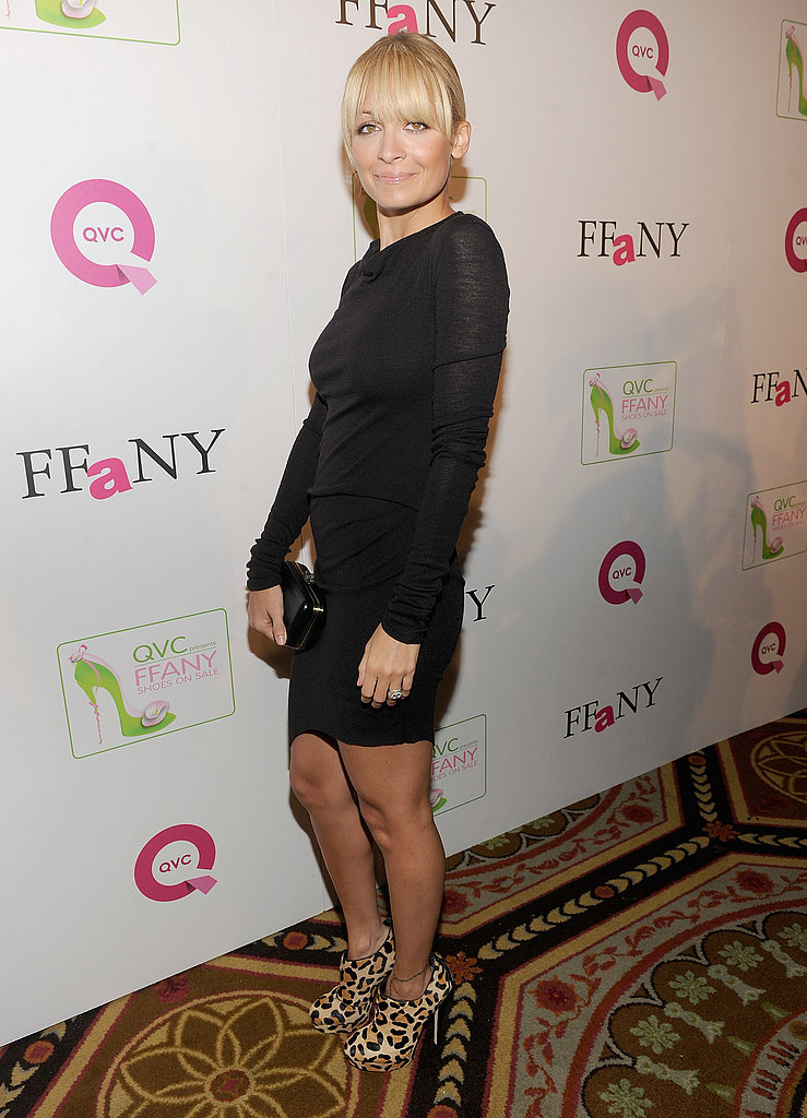 Nicole Richie in a black Helmut Lang dress.