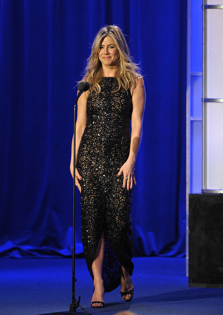 Jennifer Aniston hit the stage solo.