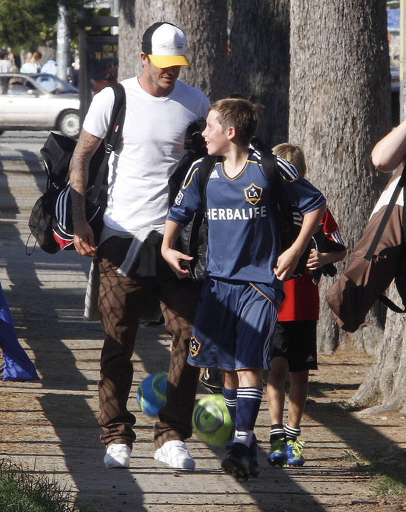 David Beckham and Brooklyn Beckham chatted after a soccer game.