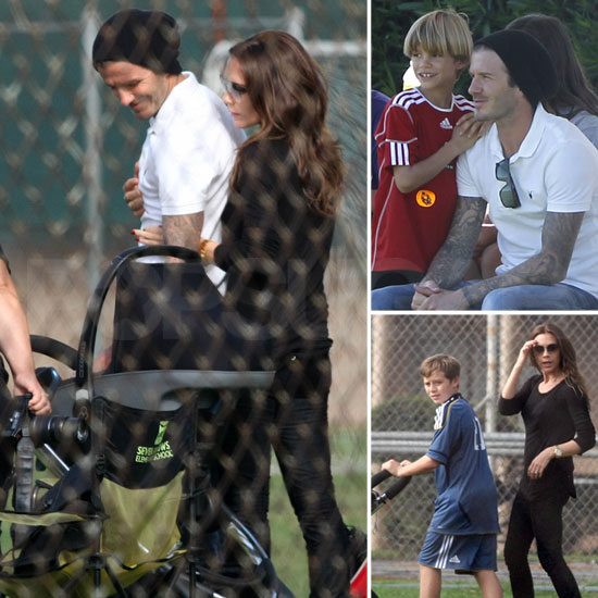David and Victoria Beckham Bring Harper Along to Cheer on Their Boys