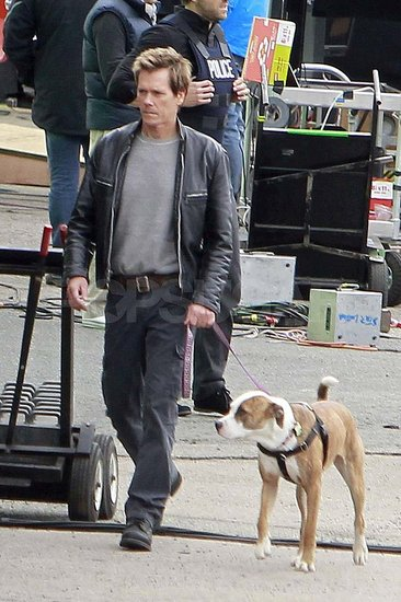 Kevin Bacon on set in Boston.