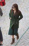 Penelope Cruz in a green jacket in Rome.
