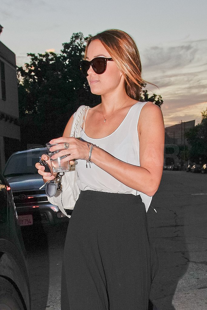 Lauren Conrad left a salon with freshly painted nude nails.