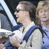 Natalie Portman with baby Aleph at the farmers market.