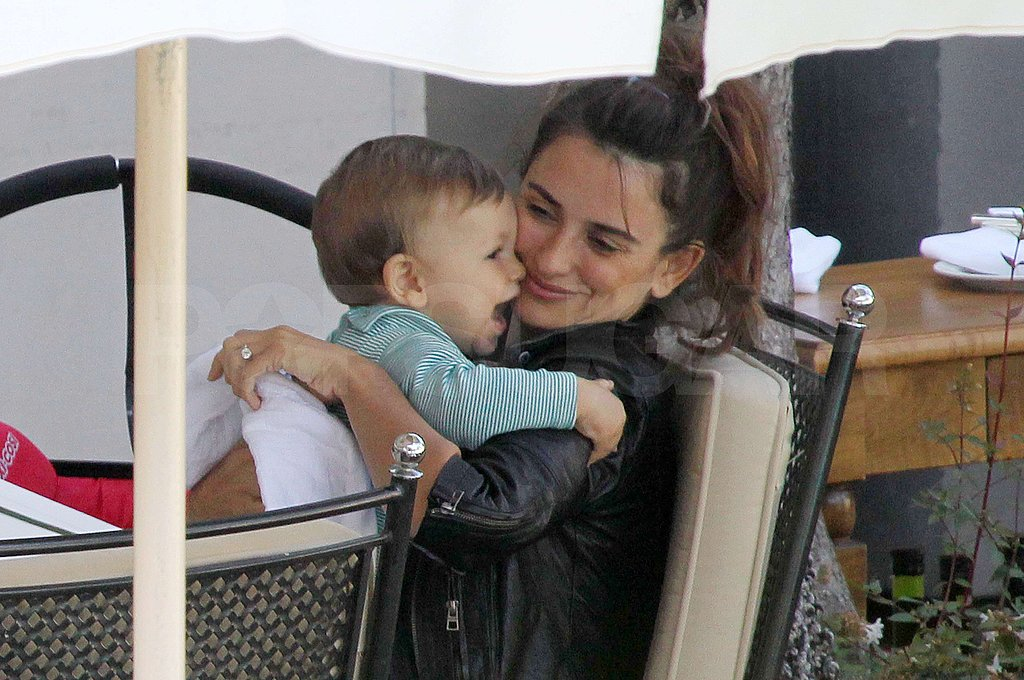 Penelope Cruz snuggled with her son Leo Bardem.