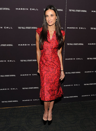 Demi Moore Is a Solo Lady in Red For NYC Margin Call Premiere