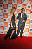 George Clooney lead Stacy Keibler down the red carpet in NYC.
