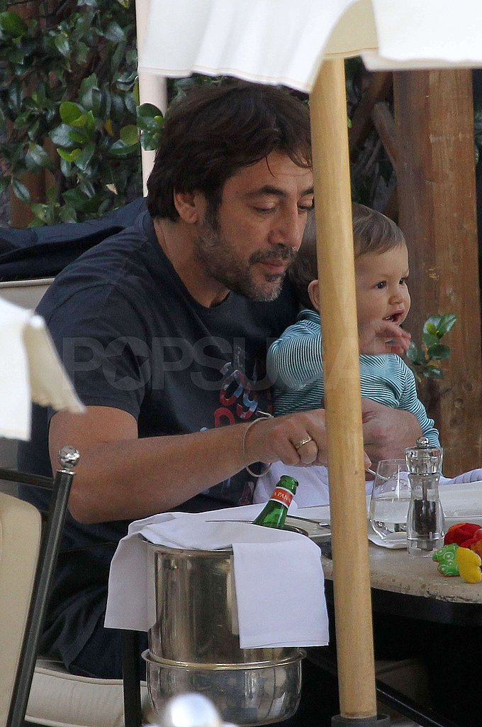 Leo Bardem sat on Javier Bardem's lap at lunch.
