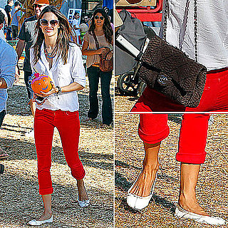 Alessandra Ambrosio Wearing Red Pants October 17, 2011