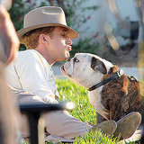 It's not just costar Emma Stone Ryan Gosling kisses in The Gangster Squad — this adorable pup wants some lovin' as well.