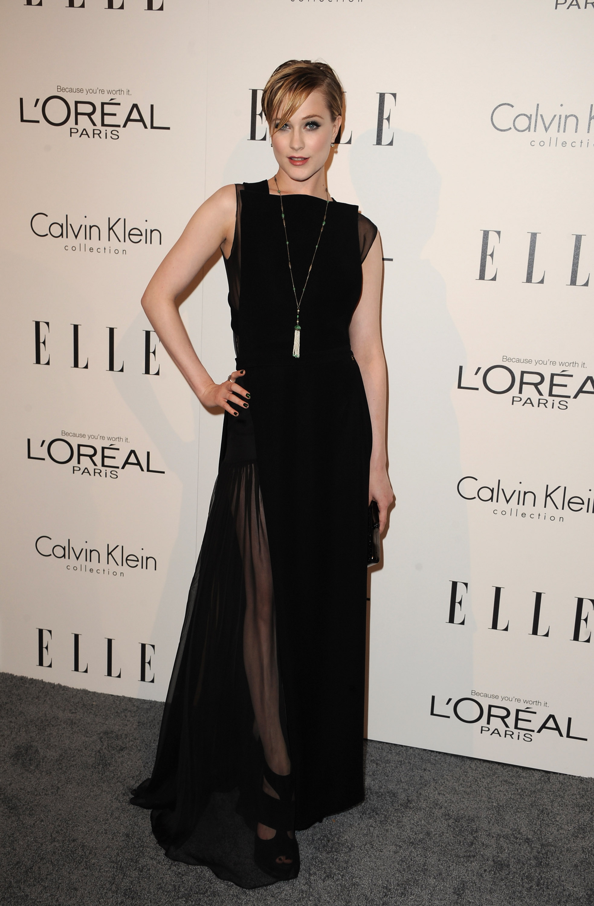 Evan Rachel Wood wore a sleek black dress to an event for Elle.