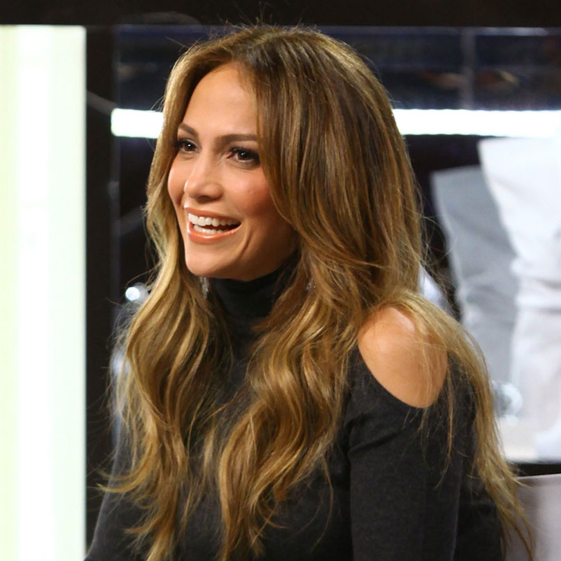 Jennifer Lopez in a black dress.