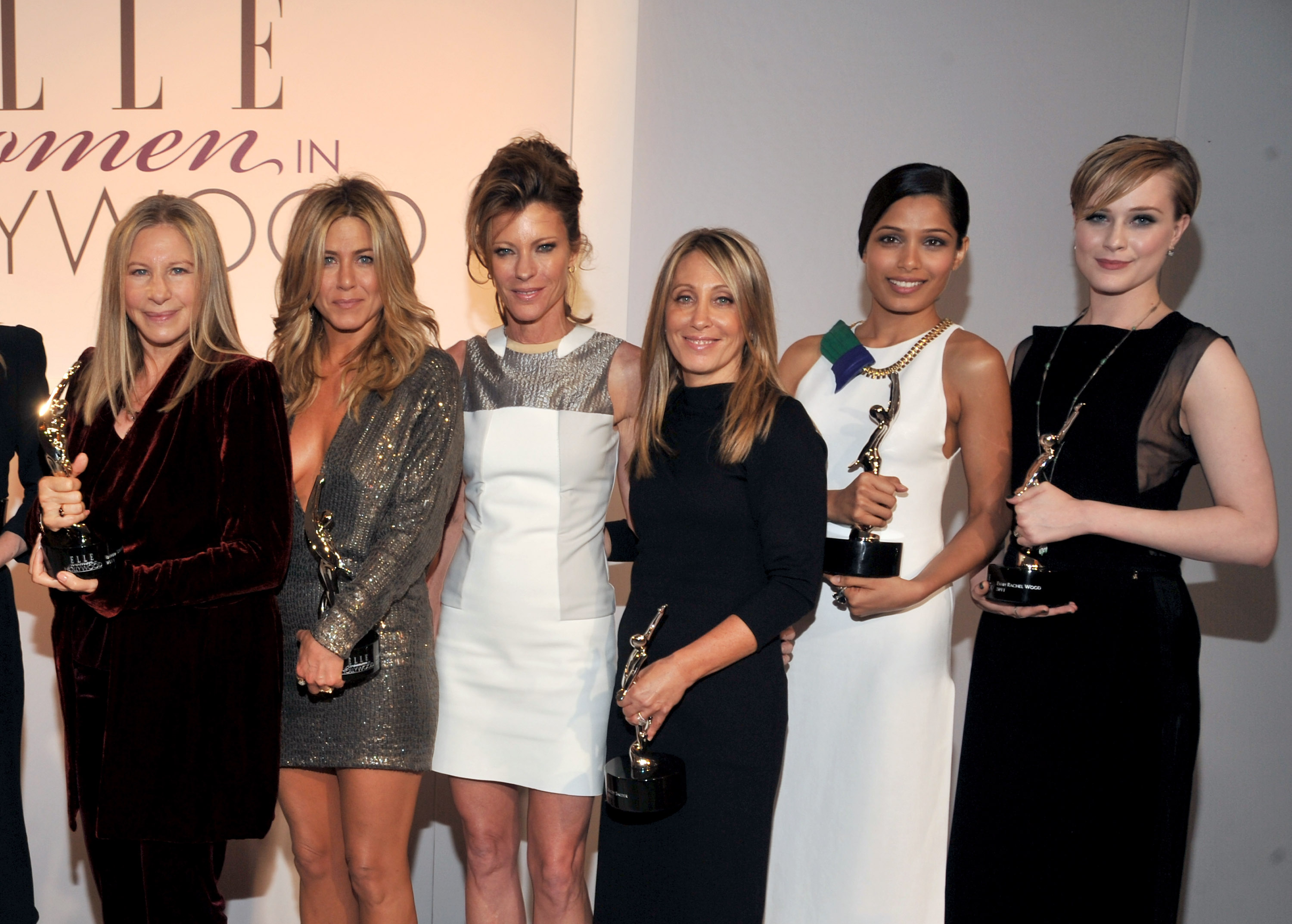 Elle's Robbie Myers honored Barbra Streisand, Jennifer Aniston, Freida Pinto, and Evan Rachel Wood in LA.