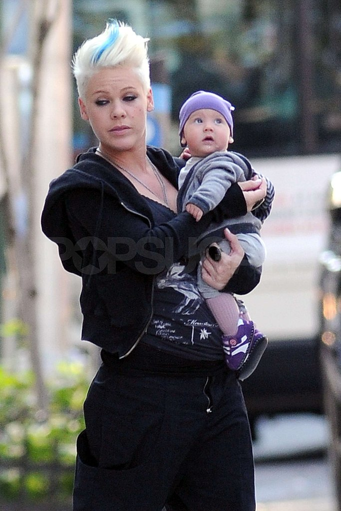Pink Cozies Up to Baby Willow on Set
