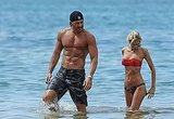 Joe Manganiello chatted up a woman in a bikini.