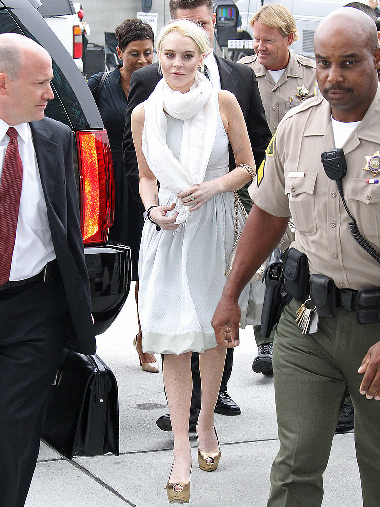 Lindsay Lohan walked to her hearing.