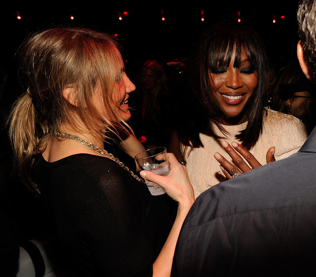 Naomi Campbell and Cameron Diaz talked at a Sirius SM party.
