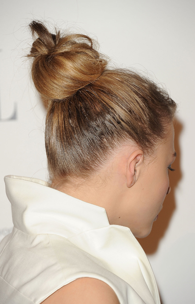 Chloe Moretz's Glamorously Undone Top Knot From All Angles