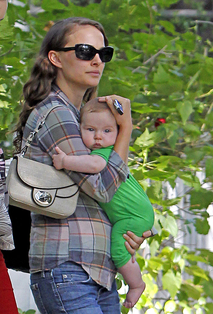 Natalie Portman cuddled Aleph Millepied close.