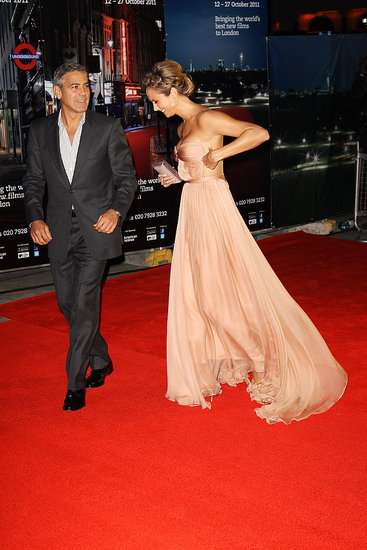 George Clooney and Stacy Keibler on the red carpet in London.