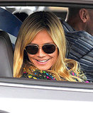 Heidi Klum sat in the passenger seat of a car yesterday.