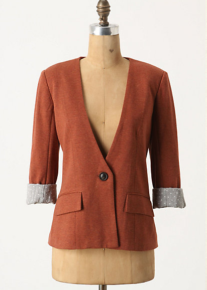 A blazer is a definitively preppy staple; this one offers great details like a cool Fall color and abridged lapels.   Anthropologie Sans Collar Blazer ($98)